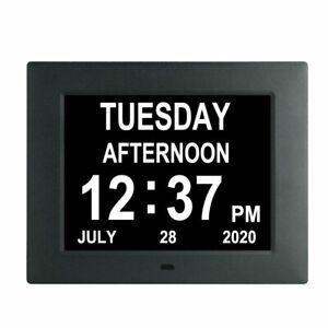 "8"" Digital Calendar Clock Non-Abbreviated Day & Month Amnesia Dementia Elderly"