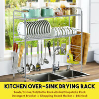 1/2-Tier Stainless Steel Over Sink Dish Drying Rack Drainer Kitchen Holder