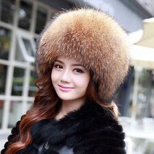 Genuine Winter Women Pelt Raccoon Fur Hat Lady Cap Headgear Outdoor Tuque Beanie