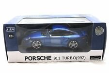 AUTOMAXX  PORSCHE 911 997 TURBO BLUE 1/24 DIECAST CAR 850103BL
