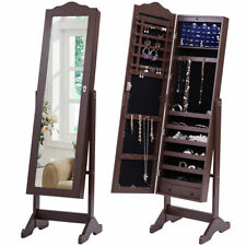 Brown Free Standing Locking Jewelry Armoire Storage Cabinet Cheval Mirror Light