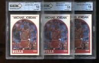 (3) Count Lot Michael Jordan 1989-90 Hoops #200 Chicago Bulls HOF GEM MINT 10