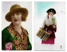 2 CPA AU09 ART DECO PIN-UP FLAPPER CHAPEAU BORSALINO JOUET POUPEE DOLL LARGE HAT