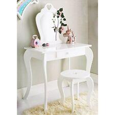 Childrens Kids Bedroom Amelia Vanity dressing Table Stool & Mirror Set White