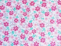 Cheap New Remnants Offcuts Fabric Polycotton Bundle DAISY PINK FLORAL FLOWER