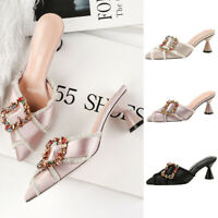 Ladies Diamante Cone Mid Heel Mules Women Pointed Toe Shoes Sandals Slippers New