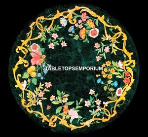 Green Marble Console Table Floral Collectible Inlay Rare Art Outdoor Decor H5309