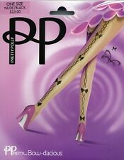 Pretty Polly Tights Nude with Black Bow Pattern