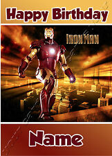 Iron Man Super Heroes - Personalised Birthday Card Dad Son Grandson Brother