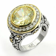 Yellow Cubic Zirconia Solitaire Wedding Engagement Sterling Silver Ring SZ 5.5