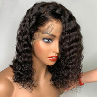 Pre Plucked Indian Remy Human Hair Wig Bob Black Water Wave Lace Front Full Wigs