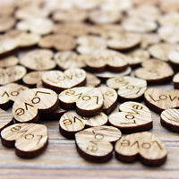 100pcs Rustic Wooden Mini Love Heart Vintage Wood Wedding Craft Decor Gift DIY