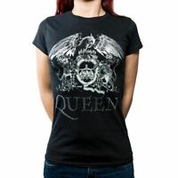 Womens Queen Crest Logo Diamante Black T-Shirt - Ladies Fitted Music Tee