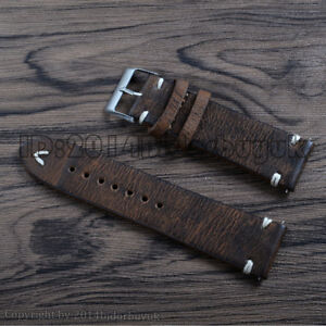 18 20 22mm Men's Brown Retro Vintage Leather Watch Band Replacement Wrist Strap