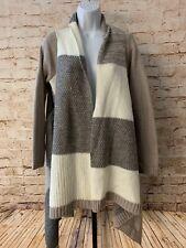 Chicos Patchwork Draped Cardigan Sweater Size 0 Tan Gray Cream