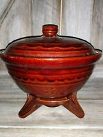 Vintage BROWN MARCREST Stoneware Casserole Dish w/ Lid Ovenproof with stand
