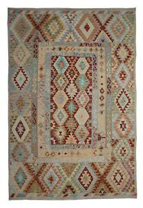 Handmade Kilims Wool Kilim Rug Traditional Oriental Afghan Brown Rug 194x297cm