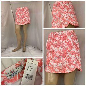 Vineyard Vines Golf Skort 2 Pink Floral Lined Polyester Lycra NWT Flipz B284