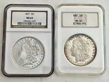 2- Ngc U.S. Morgan Silver Dollars: 1891 Ms63 & 1881 Ms63, See Other Morgans
