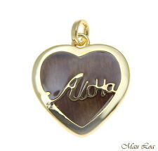 Koa Wood Hawaiian Scroll Aloha Heart Yellow Gold Plated Brass Reversible Pendant