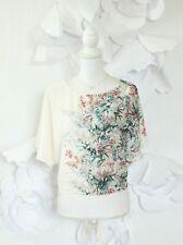 ZARA Floral Crop Blouse Top Women's S Green Keyhole Dolman Slv Summer