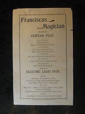 Vintage Circa 1905 W C Franciscus The Eminent Magician Broadside