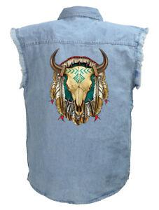 Mens Native American Buffalo Skull Blue Denim Sleeveless Cutoff Biker Shirt