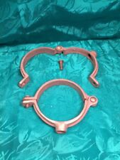 Lot Of Two 3 In. Copper Split Ring Pipe Stand Off Clamp Hanger