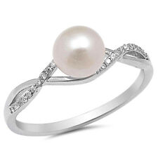 USA Seller Infinity Pearl Ring Sterling Silver 925 Best Deal Jewelry Size 10