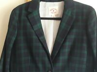 Brooks Brothers Ladies Red Fleece Navy Green  Plaid Wool Blazer Size 10 PREPPY