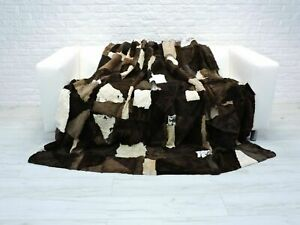 Beige Brown White Throw Real SHEARED RABBIT Fur PATCHWORK Blanket Bed Cover BT11
