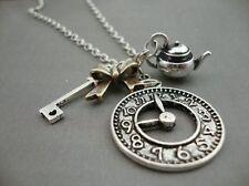Alice in Wonderland Antique Silver Plate Teapot Watch Clock Key Necklace Kitsch