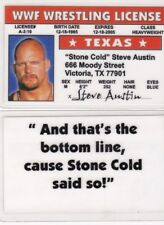 WF Wrestling STONE COLD Steve Austin Drivers License FAKE ID driver's card wcw