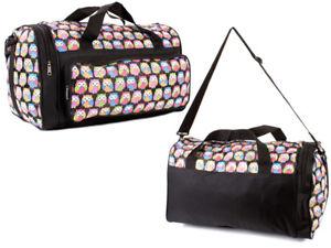 Ladies Girls Owl Print Black Canvas Weekend Bag School Cabin Gym Travel Holdall!