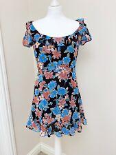 Zara Floral Black Mini Dress Size 10 Tea Dress Boho Party Blogger