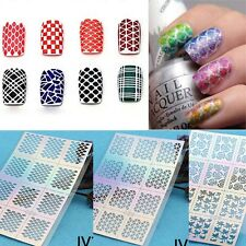 12Pcs / Sheet Nail Art Manicure Stencil Stickers Stamping Vinyls Easy Use Random