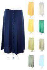 New Size 12 - 24 Long Button Through Plain Aline Skirt Back Elastic Waist Womens