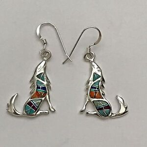 Sterling Silver Handmade Inlay Multi-Stone Coyote Howling Hook Dangle Earrings