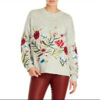 Romeo & Juliet Couture Gray Floral Embroidered Anthropologie Pullover Sweater L