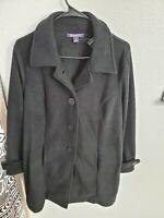 "NWOT Roamans Women's Plus Size Plush Fleece Jacket Black Medium(44""Bust/34""L)"