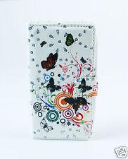 LG H502 magna Case Flip Tasche Hülle Schmetterlinge Bunt Strass