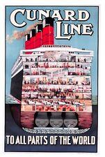 NEW Postcard Vintage Travel Poster Cunard Line, Boat, Cruise Ship, Liner 85L