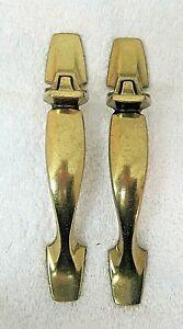 Pair Midcentury Brighter Brass Cupboard Door Pulls Knobs Used Good Shape Ha126