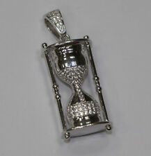 Silver SANDGLASS Pendant Iced Out Full Cz White Gold Finish
