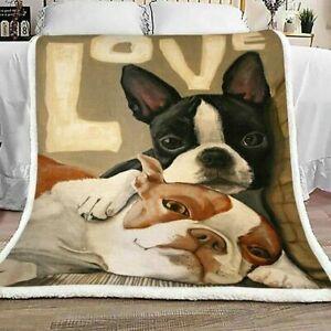 Love Boston Terrier  Quilt blanket
