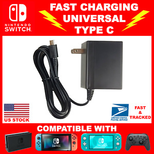 FAST CHARGER CABLE For Nintendo Switch/Lite/Dock - AC Power Supply Wall Type C