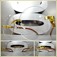 Mens Classy Sophisticated Style Clear Lens EYE GLASSES Gold & Wood Rimless Frame