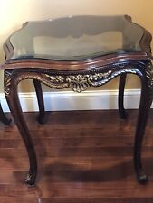 PAIR OF CARVED FRENCH STYLE GOLD ACCENTED GLASS TOP TABLES, ACCENT SIDE TABLES,