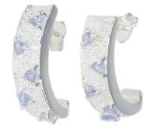 Tanzanite Gemstone Curve Design Sterling Silver Earrings