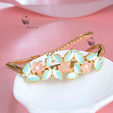 18k yellow gold gf snake chain vivid Cloisonne Enamel butterfly flower bracelet